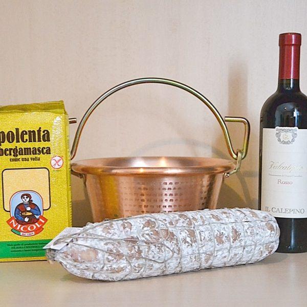 Paiolo in Rame 22 cm + 1 kg Farina Gialla + Rosso Valcalepio + Salame Nostrano