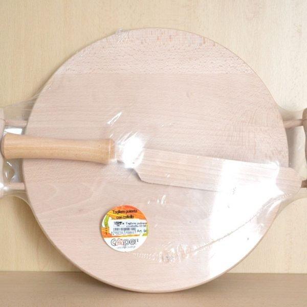 Tagliere Polenta in Legno con Coltello 30cm Diametro