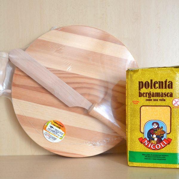 Tagliere per Polenta Ø 30cm con Coltello + Farina per Polenta Bergamasca