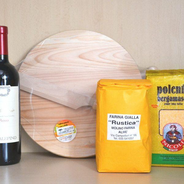 Tagliere Polenta + Vino Rosso Valcalepio + 2 Farine per Polenta