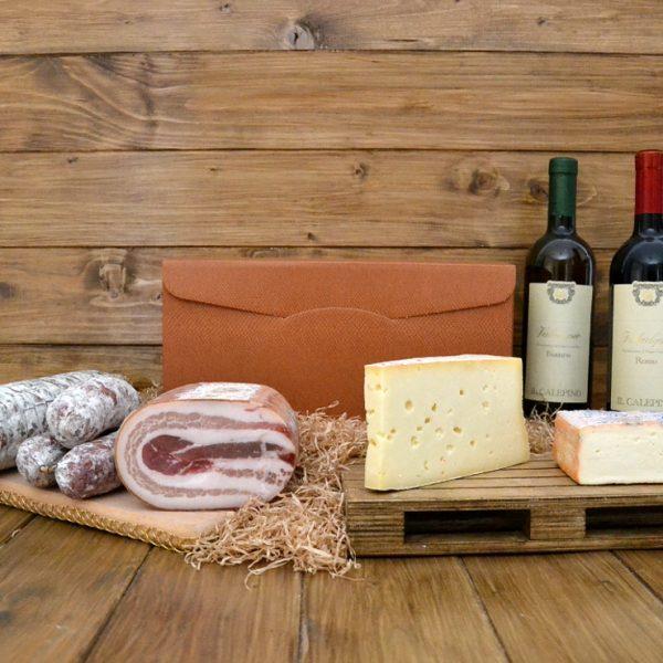 Pissèn ma bu: cesto personalizzato piccolo con formaggi, salumi e vini